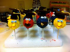 Pre-School graduation cake pops! These are adorable-too bad I haven't mastered cake pops yet!