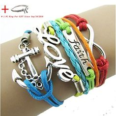 Leather Wrap Bracelet Cross Infinity Mixed Color Moto Charm Friendship UK Seller