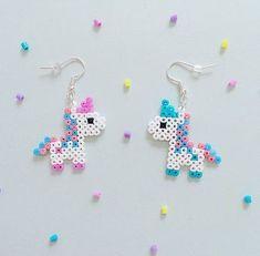 Bubblegum Unicorn Hama Bead Earrings