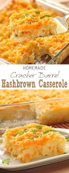 Homemade Cracker Barrel HashBrown Casserole is super easy to whip up, but grants you restaurant quality taste right in your own kitchen. (Cracker Barrel uses Colby cheese instead of cheddar. Cracker Barrel Hashbrown Casserole, Hashbrown Casserole Recipe, Casserole Recipes, Cracker Barrel Hash Brown Casserole Recipe, Cracker Barrel Potatoes, Cracker Barrel Recipes, Potato Casserole, Casserole Dishes, Breakfast Desayunos