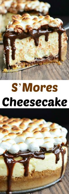 S'Mores Cheesecake Recipe. Smooth cheesecake made with a layer of chocolate and marshmallows on the bottom and topped with hot fudge sauce and toasted marshmallows.
