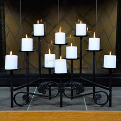 Candelabra: 10 Candle Imperial Fireplace Candelabra - 10 Candle Imperial Candelabra - Add ambience to your hearth with our fireplace and floor wrought iron candelabras and candle holder Fireplace Candelabra, Fireplace Candle Holder, Metal Fireplace, Open Fireplace, Fireplace Inserts, Candle Holders, Fireplace Ideas, Garden Bathtub, Bathtub Remodel