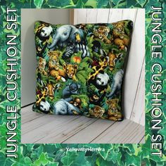 Pair of handmade Jungle cushions 18x18. These cushions are a great way to decorate a room and bring it to life. Handmade Cushion Covers, Handmade Cushions, Handmade Shop, Etsy Handmade, Animal Cushions, Etsy Business, Jungle Animals, Pillow Set, Office Decor