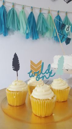 Tribal Wild One Birthday Party Feather Cupcake by eventprint