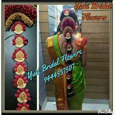 Beautiful Rose Jada, along with veni #jada, green Kanchipuram saree