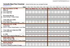 Herbalife Meal Plan Food Journal Worksheet 1