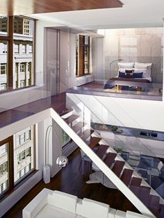 Manhattan apartment: Glass staircase, sky-lit master bedroom, wood burning fire place, private terrace, oversized spa bathroom just my future apartment! Manhattan Apartment, Dream Apartment, Interior Exterior, Interior Architecture, Interior Design, Living Pool, City Living, Salons Cosy, Lofts