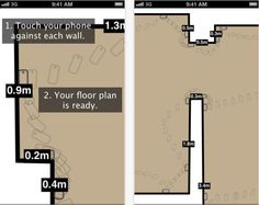 What it does: RoomScan creates floor plans of spaces just by running the app and touching a smartphone or device to the walls. How to use it: Easily create floor plans of entire homes to aid in design plans. Rearrange current furniture, test out new furniture or knock out a few walls! Available for: iPhone, iPad and iPod Touch Cost: Free #technology #interiordesign #homes