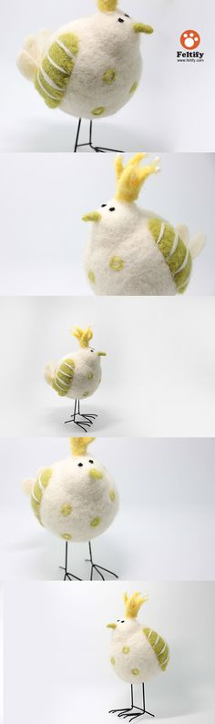 Needle Felted Felting Animals Bird White Cute Craft