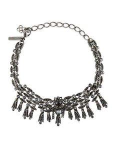OSCAR DE LA RENTA Tulip Crystal Choker Necklace, Silver. #oscardelarenta #