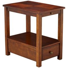 Evoking childhood games for whimsical appeal, this classic cherry chairside table includes one drawer and a shelf that's perfect for books. Birch veneers and popular wood construction. Style # at Lamps Plus. A Shelf, Shelves, Chair Side Table, Wood Construction, Drawers, Stool, Projects To Try, Cherry, Living Room