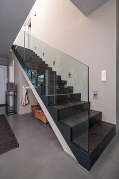 Stairs glass railing all-glass railing Modular Staircase, Floating Staircase, Staircase Design, Stair Handrail, Banisters, Interior Stairs, Interior Architecture, Building Architecture, Stair Kits