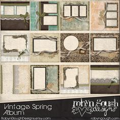 Digital Quick Page Album - Vintage Spring Digital Scrapbook Album - 12 Pre-Made Layout Pages by Robyn Gough on Etsy, digiscrap, digital scrapbooking,