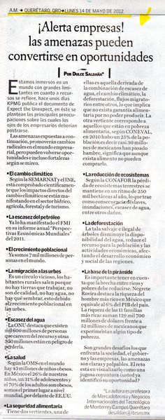 ¡Alerta empresas! las amenazas pueden convertirse en oportunidades.  Nota publicada por Dulce Saldaña, profesora de Mercadotecnia y Negocios Internacionales del Tecnológico de Monterrey Campus Querétaro