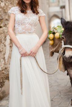 Moda e Arte Workshop - by Sandra Åberg - Mira Zwillinger Dress - Amalfi coast - designation wedding - donkey - lemons - wedding inspiration Bridal Shoot, Bridal Gowns, Wedding Gowns, Wedding Blog, Lace Wedding, Wedding Stuff, Dream Wedding, Wedding Ideas, Dress Vestidos
