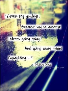 See more Quotes about Never say goodbye because saying goodbye means going away