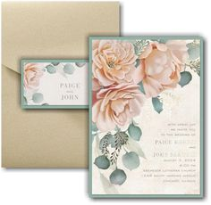 Refreshing Floral Layered Pocket Wedding Invitation Icon Online Fonts, Pocket Wedding Invitations, Matching Cards, Lettering Styles, Foil Stamping, Response Cards, Watercolor Flowers, White Envelopes, Your Cards