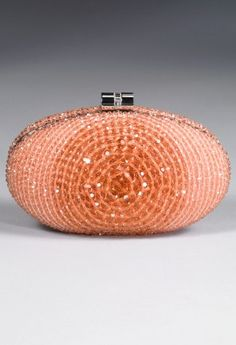 Fun coral/peach crystal beaded clutch.