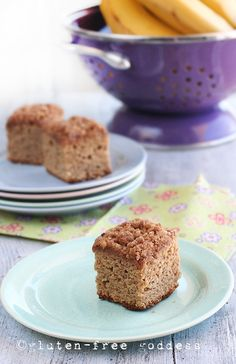 Gluten-Free Banana Crumb Cake - replace eggs with egg replacer - or just more banana! - and this is vegan