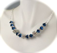 Peacock Blue Necklace, Swarovski Crystal Fireball Rhinestone Necklace, Vintage Style, Sterling Silver, Bridesmaids Bridal Wedding Jewelry