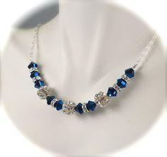 Peacock Blue Necklace, Swarovski Crystal Fireball Rhinestone Necklace, Vintage Style, Sterling Silver, Bridesmaids Bridal Wedding Jewelry