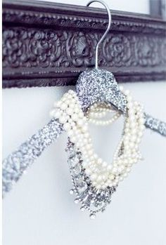 ♥ GLITTER HANGERS for jewelry displays. The hanger may catch your eye, but the jewelry should stop you in your tracks.