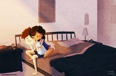Serrant le Couple, chambre à coucher Art, romantique, amour Wall Art - « Good Morning »