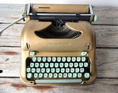 Script / Cursive Keys - Swiss Portable Gold Vintage Hermes 3000 Typewriter -