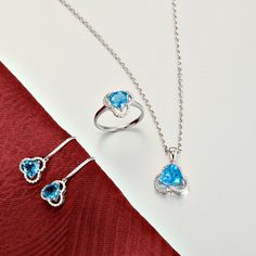 First Lady Brand Solid 18K White Gold 100% Natural Diamond & Topaz Pendant Jewelry Set