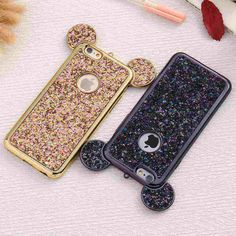 Bling Paillettes Soft Tpu Case Mickey Ear Protective Cover For Iphone 6 6S Plus