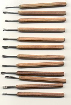 Several folks were interested in my miniature set of Japanese wood carving tools that I use in conjunction with a regular set of linoleum block carving tools for making my own stamps.   They are small - about 6 inches long.