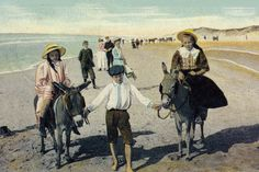 Donkey ride on the beach of Scheveningen 1900
