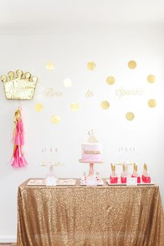 ADORABLE Pink & Gold Princess Birthday Party via Kara's Party Ideas KarasPartyIdeas.com Printables, cake, decor, tutorials, and more! #princess #princessparty #pinkandgold #goldandpink #partyplannign #partystyling #karaspartyideas (14)