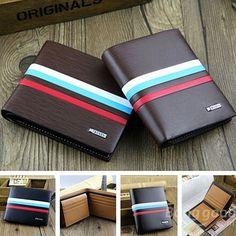 Men Leather Credit Card Holder Bifold Short Clutch Handbag Purse Wallet - US$7.57