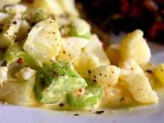 low carb potato salad is made with cauliflower and a tangy mustard sauce . It's an excellent replica of traditional potato salad. lowcarb-ology.com