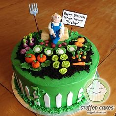 Stuffed Cakes - Small Cakes Packed with Personality. We are a custom cake and cupcake shop based in West Seattle, WA. Farmer Birthday Cake, Birthday Cake For Father, Dad Birthday Cakes, Cake Decorating Videos, Cake Decorating Supplies, Allotment Cake, Vegetable Garden Cake, Flower Pot Cake, Cake For Husband