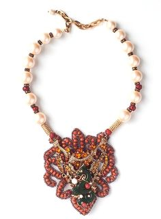 Dragon and Mock Pearl Gumball, Art Decor, Beaded Necklace, Jewelry Design, Coral, Dragon, Pearls, Antiques, Bracelets