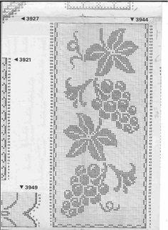 This Pin was discovered by Eil Filet Crochet Charts, Crochet Borders, Crochet Cross, Knitting Charts, Thread Crochet, Crochet Tablecloth Pattern, Crochet Curtains, Tapestry Crochet, Cross Stitch Designs