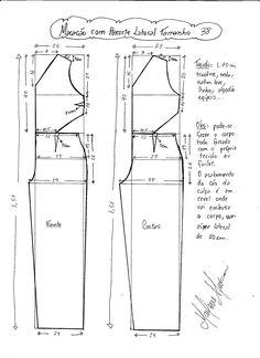 Esquema de modelagem de Macacão com Recorte Lateral tamanho 38.                                                                                                                                                                                 Mais