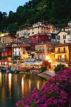 """italian-luxury: """"Night life in Varenna, Italy"""""""