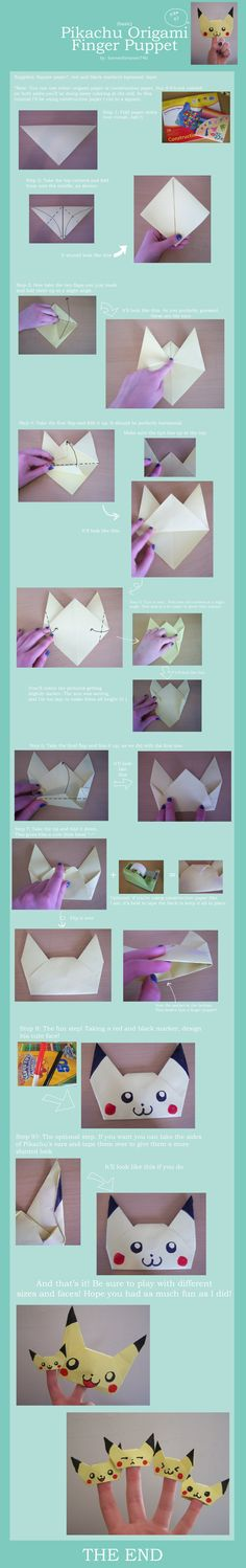 Pikachu Origami Finger Puppet by ~foreverfornever740 on deviantART  I will use blue paper to make Pete the Cats.
