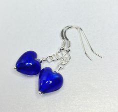 Cobalt Blue Murano Glass Earrings Small Heart by LynnsGemCreations