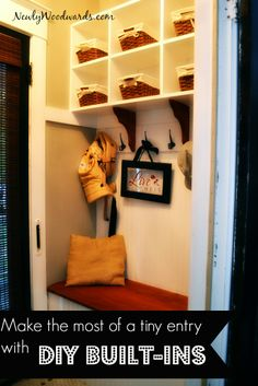 A pretty little entry with lots of practical storage - making due with space in a home built in 1890.