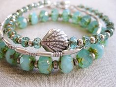 Seafoam Sparkles - coastal multi-strand silver/Czech glass bracelet by SeaSideStrands