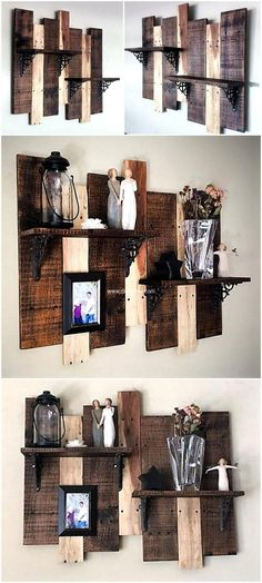 Recycled rustic pallet shelf with its mesmerizing looks gives your place likable look. The combination of light and dark colored is wonderful pallet idea. Its great idea to embellish your place in low price. The art work used to enhance the charm of your place.