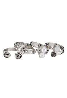 Faux Pearl and rhinestone ring set (original price, $14) available at #Maurices