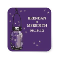 Mason Jars with fireflies Wedding Square Stickers