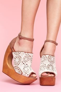 vegan brown lace wedges with architectural cutout wooden wedge heel platform shoes $145
