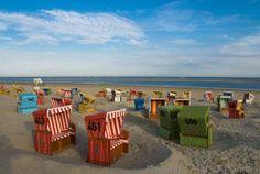 Alemania Germany Deutschland  Langeoog Island  on the Northsea Beach chairs on the beach, Langeoog, Germany