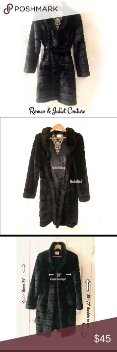 LIKE NEW! Romeo & Juliet Couture Faux Mink Coat Rare R & J Couture faux fur coat in perfect condition. Beautiful styling that doesn't make you look like a bloated teddy bear. It even has leather belt loops so you can cinch in your waist. Unfortunately the belt disappeared, but just add your own black leather belt and violá! There is a hook at the waist so you can close it that way, too. Black satin lining. See photos for measurements. This one's hard to part with it but it just doesn't fit…